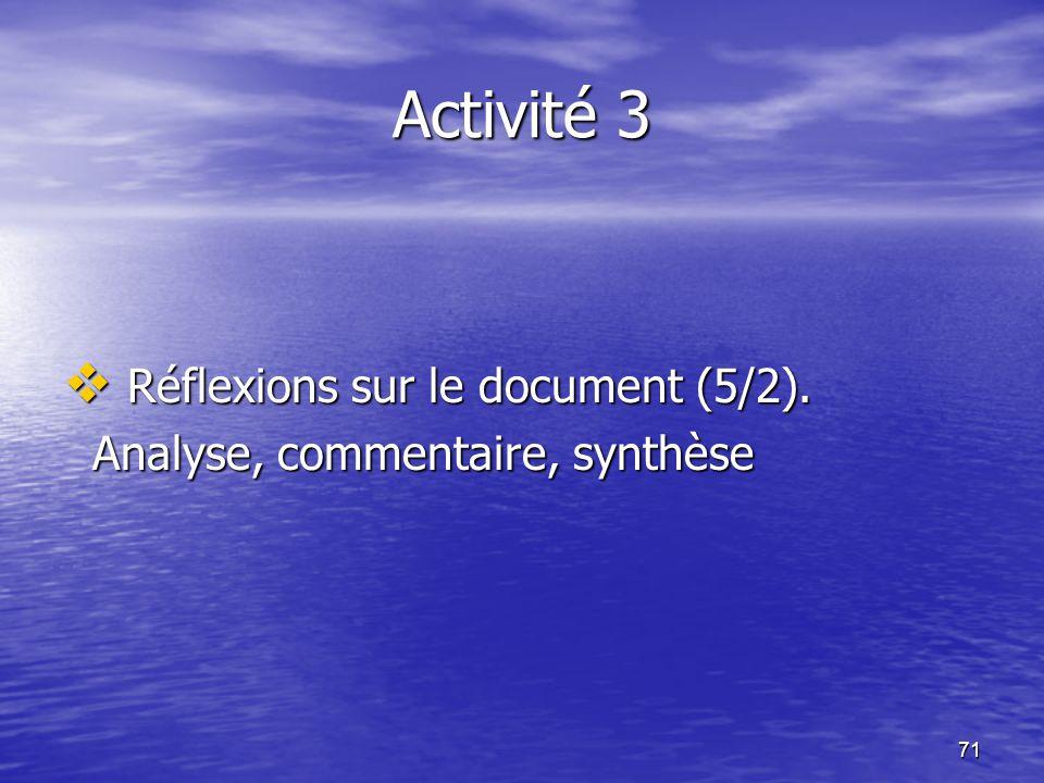 71 Activité 3  Réflexions sur le document (5/2). Analyse, commentaire, synthèse Analyse, commentaire, synthèse