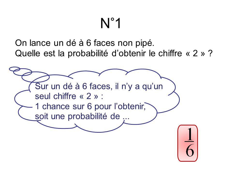 N°1 On lance un dé à 6 faces non pipé.Quelle est la probabilité d'obtenir le chiffre « 2 » .