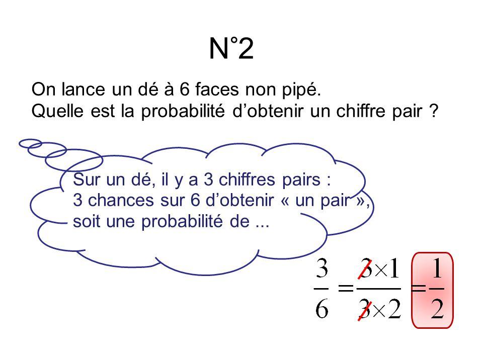 N°2 On lance un dé à 6 faces non pipé.Quelle est la probabilité d'obtenir un chiffre pair .