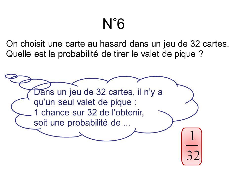 N°6 On choisit une carte au hasard dans un jeu de 32 cartes.