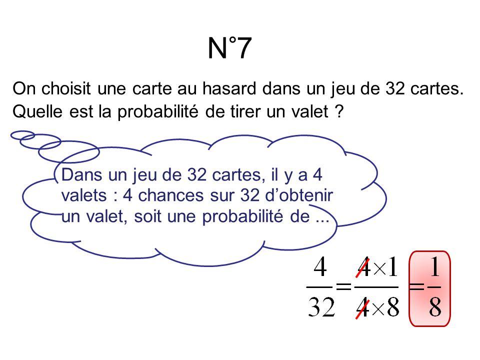 N°7 Dans un jeu de 32 cartes, il y a 4 valets : 4 chances sur 32 d'obtenir un valet, soit une probabilité de...