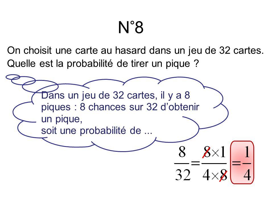 N°8 Dans un jeu de 32 cartes, il y a 8 piques : 8 chances sur 32 d'obtenir un pique, soit une probabilité de...