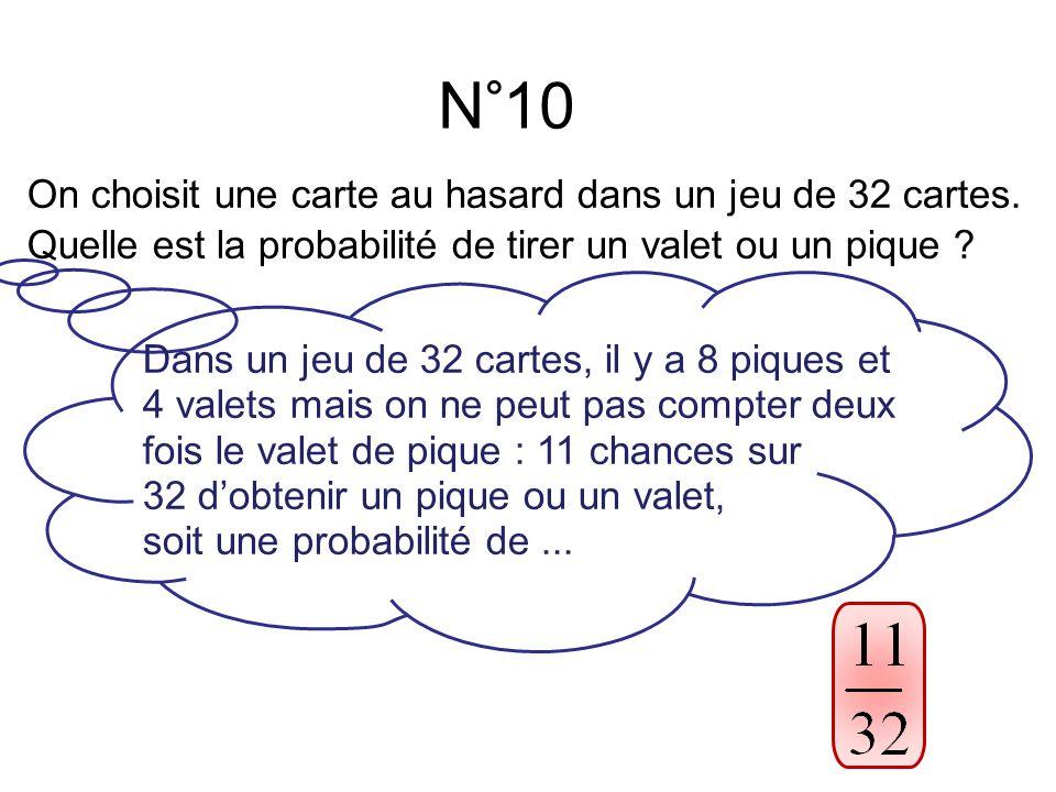 N°10 Dans un jeu de 32 cartes, il y a 8 piques et 4 valets mais on ne peut pas compter deux fois le valet de pique : 11 chances sur 32 d'obtenir un pique ou un valet, soit une probabilité de...