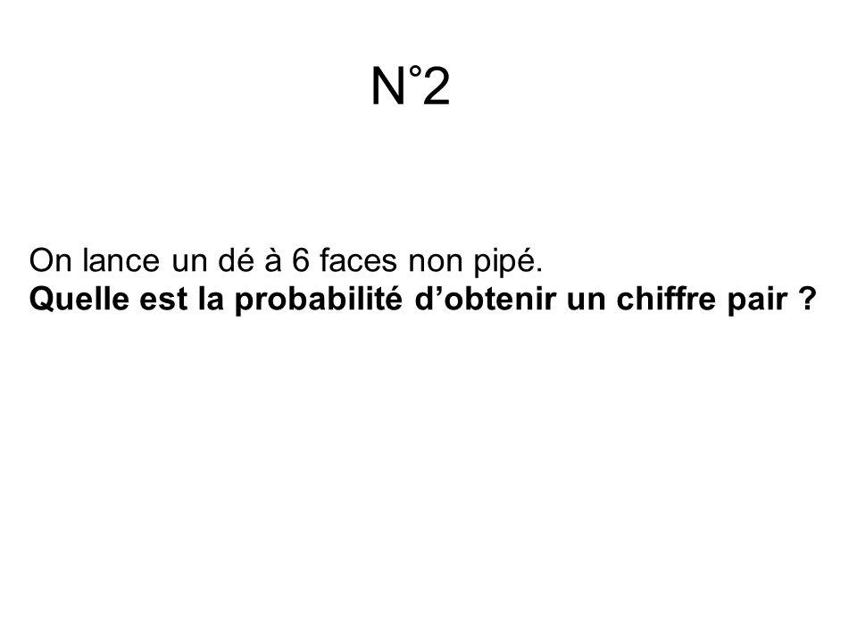 N°2 On lance un dé à 6 faces non pipé. Quelle est la probabilité d'obtenir un chiffre pair ?