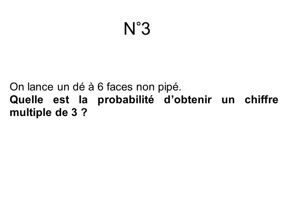 N°3 On lance un dé à 6 faces non pipé.
