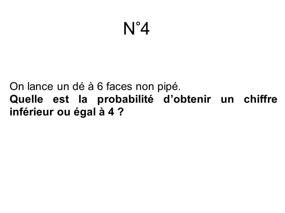 N°4 On lance un dé à 6 faces non pipé.