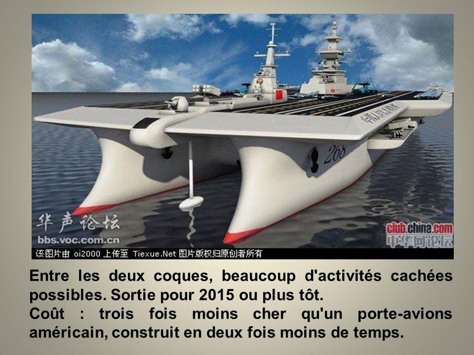 Voici le futur porte-avions chinois. Tout à fait innovant de design, de stabilité et de capacité. Deux pistes d'appontage ! Deux fois plus rapide que