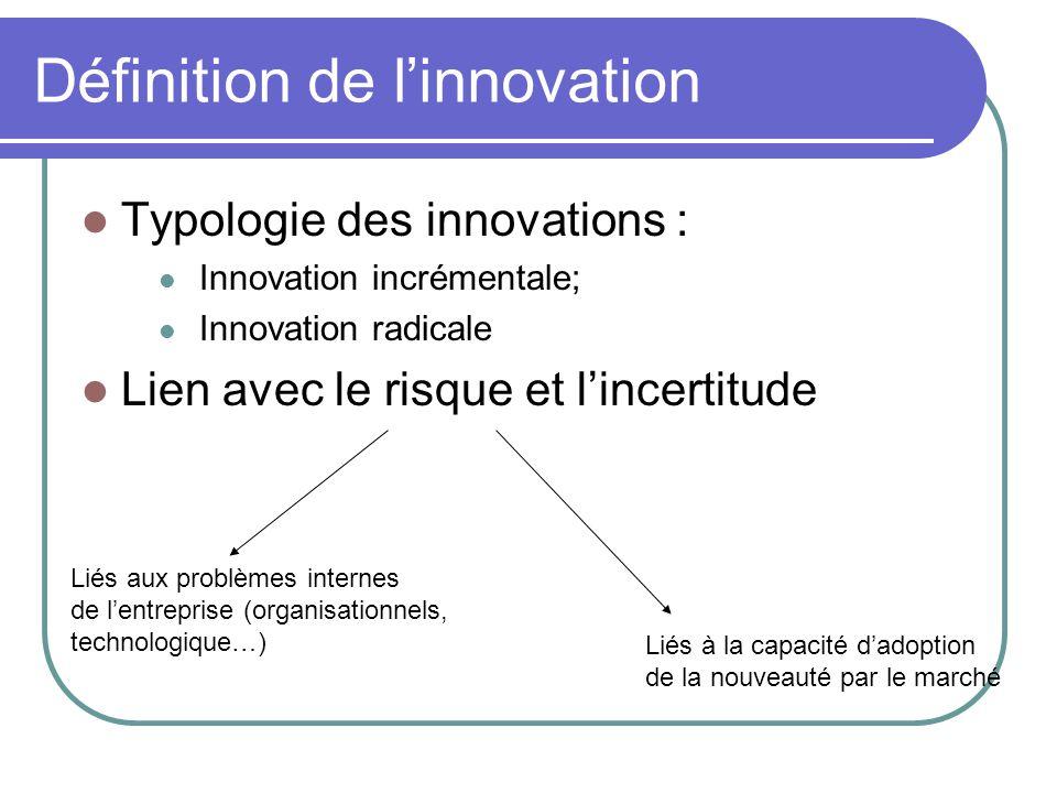 Définition de l'innovation  Typologie des innovations :  Innovation incrémentale;  Innovation radicale  Lien avec le risque et l'incertitude Liés