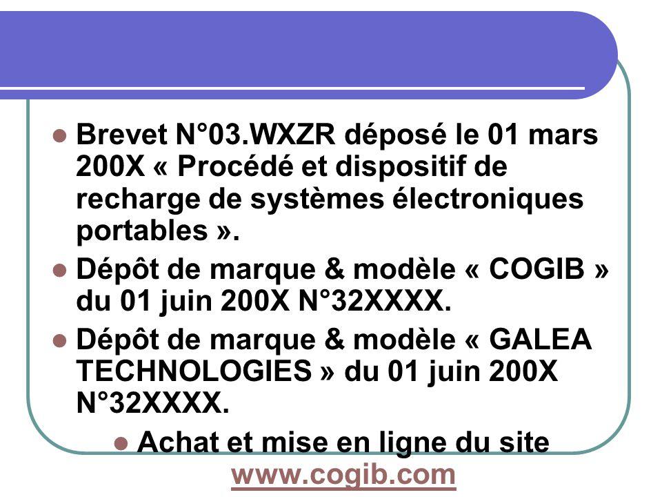  Brevet N°03.WXZR déposé le 01 mars 200X « Procédé et dispositif de recharge de systèmes électroniques portables ».  Dépôt de marque & modèle « COGI