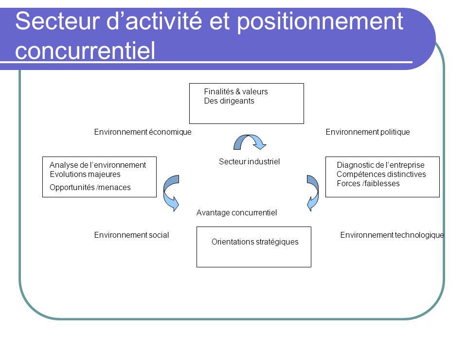 Secteur d'activité et positionnement concurrentiel Finalités & valeurs Des dirigeants Analyse de l'environnement Evolutions majeures Opportunités /men