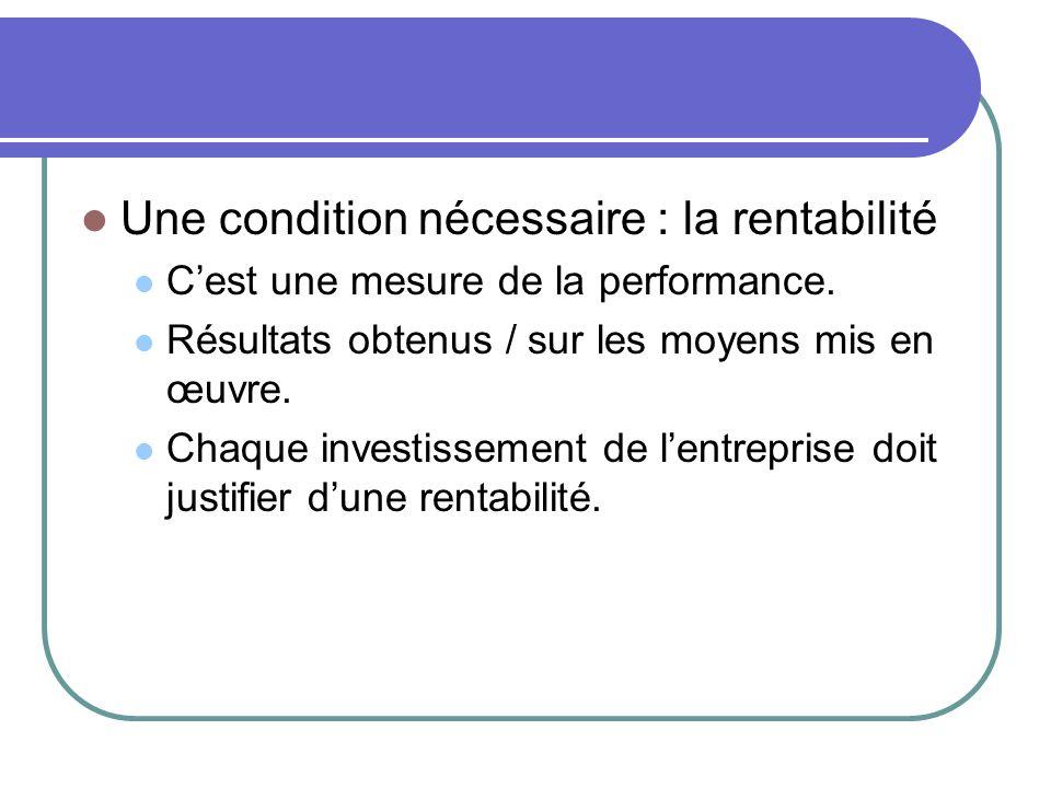  Une condition nécessaire : la rentabilité  C'est une mesure de la performance.  Résultats obtenus / sur les moyens mis en œuvre.  Chaque investis