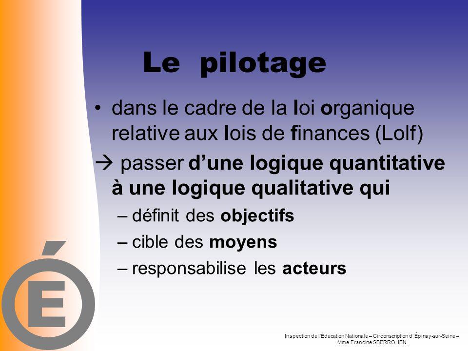 Le pilotage •dans le cadre de la loi organique relative aux lois de finances (Lolf)  passer d'une logique quantitative à une logique qualitative qui
