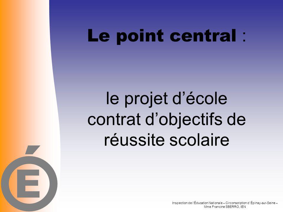 Le point central : le projet d'école contrat d'objectifs de réussite scolaire Inspection de l'Éducation Nationale – Circonscription d' Épinay-sur-Sein