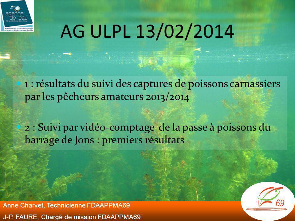 AG ULPL 13/02/2014  1 : résultats du suivi des captures de poissons carnassiers par les pêcheurs amateurs 2013/2014  2 : Suivi par vidéo-comptage de la passe à poissons du barrage de Jons : premiers résultats Anne Charvet, Technicienne FDAAPPMA69 J-P.