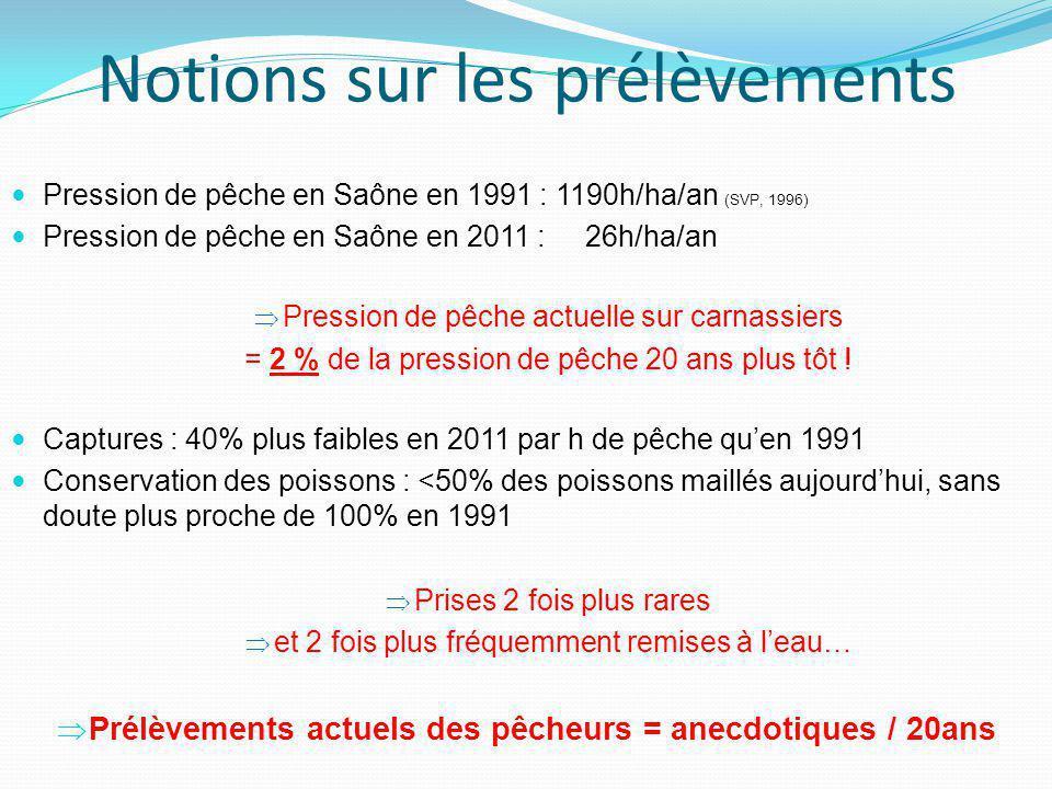 Notions sur les prélèvements  Pression de pêche en Saône en 1991 : 1190h/ha/an (SVP, 1996)  Pression de pêche en Saône en 2011 : 26h/ha/an  Pression de pêche actuelle sur carnassiers = 2 % de la pression de pêche 20 ans plus tôt .
