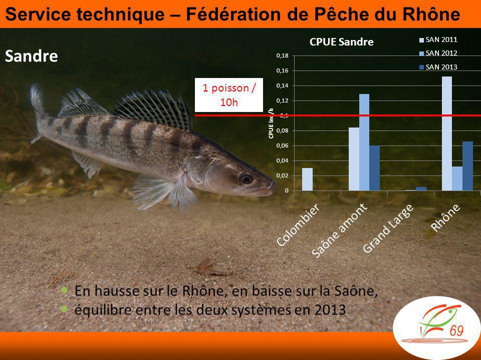 Sandre 1 poisson / 10h  En hausse sur le Rhône, en baisse sur la Saône,  équilibre entre les deux systèmes en 2013 Service technique – Fédération de Pêche du Rhône