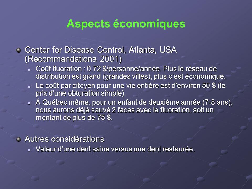 Aspects économiques Center for Disease Control, Atlanta, USA (Recommandations 2001)  Coût fluoration : 0,72 $/personne/année. Plus le réseau de distr