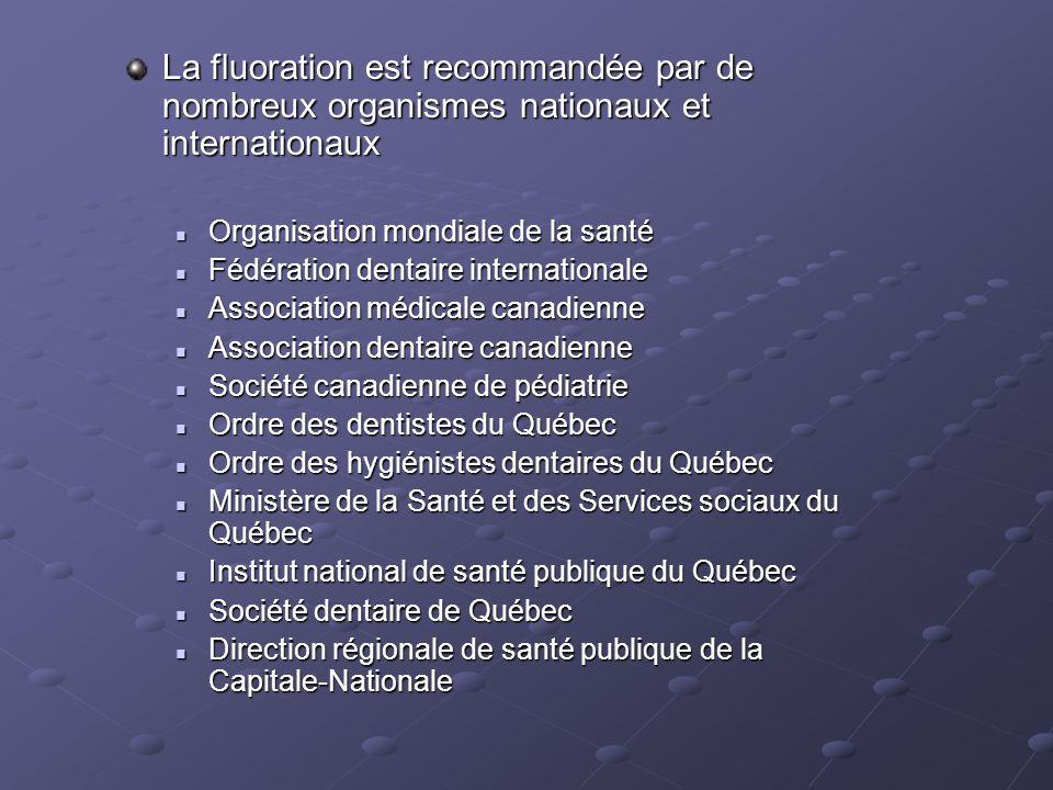 La fluoration est recommandée par de nombreux organismes nationaux et internationaux  Organisation mondiale de la santé  Fédération dentaire interna