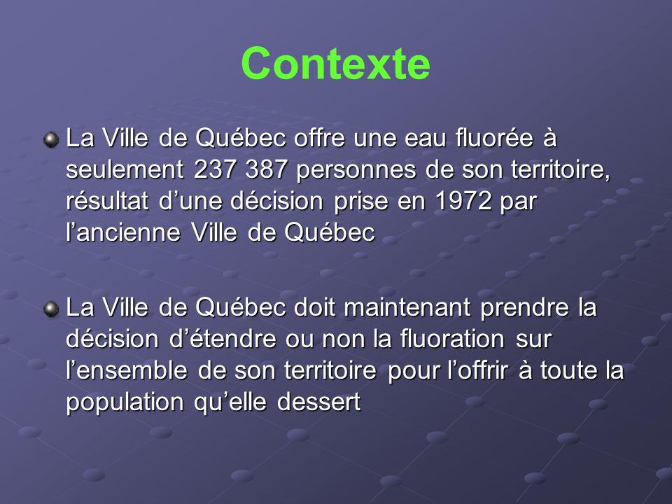 Contexte La Ville de Québec offre une eau fluorée à seulement 237 387 personnes de son territoire, résultat d'une décision prise en 1972 par l'ancienn