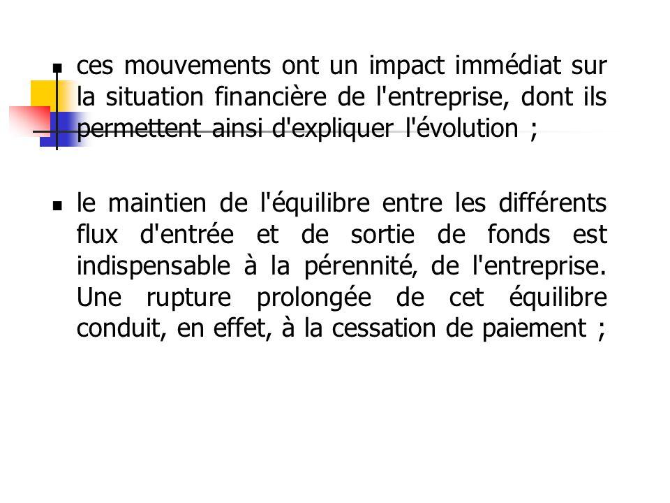  ces mouvements ont un impact immédiat sur la situation financière de l'entreprise, dont ils permettent ainsi d'expliquer l'évolution ;  le maintien