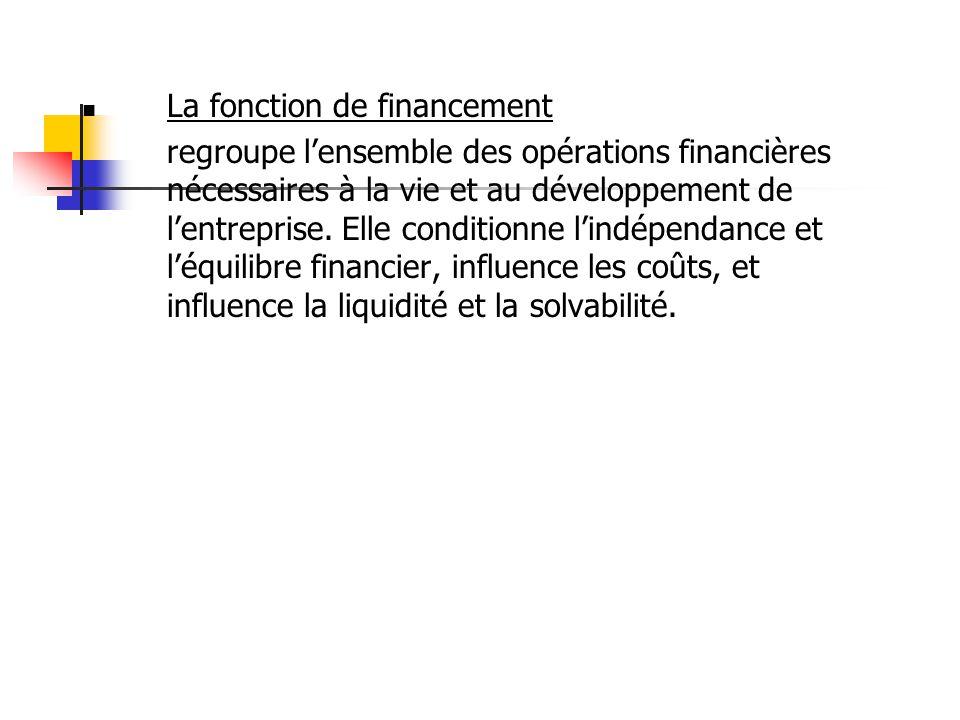  La fonction de financement regroupe l'ensemble des opérations financières nécessaires à la vie et au développement de l'entreprise. Elle conditionne