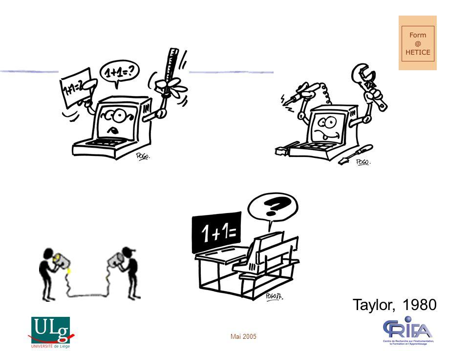 Mai 2005 Catégoriser les UPO •Enseignement •Tutoriel •Exercices •Simulations / imagiciels • Recherche/exploration • Communication • Création •Collaboration • Gestion (pour l'enseignant)