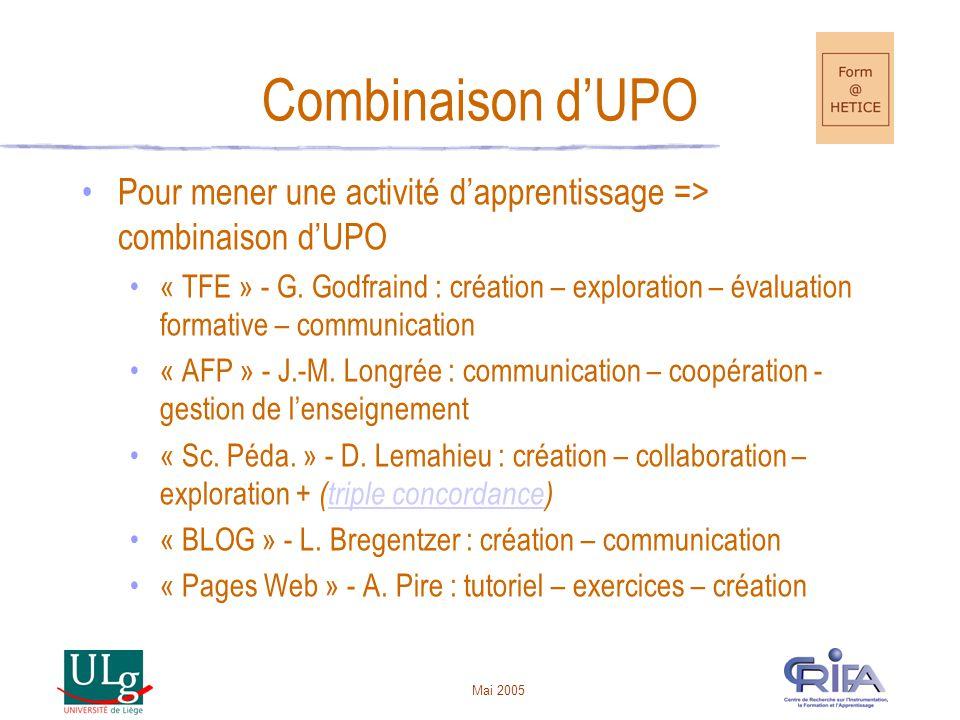 Mai 2005 Combinaison d'UPO •Pour mener une activité d'apprentissage => combinaison d'UPO •« TFE » - G. Godfraind : création – exploration – évaluation