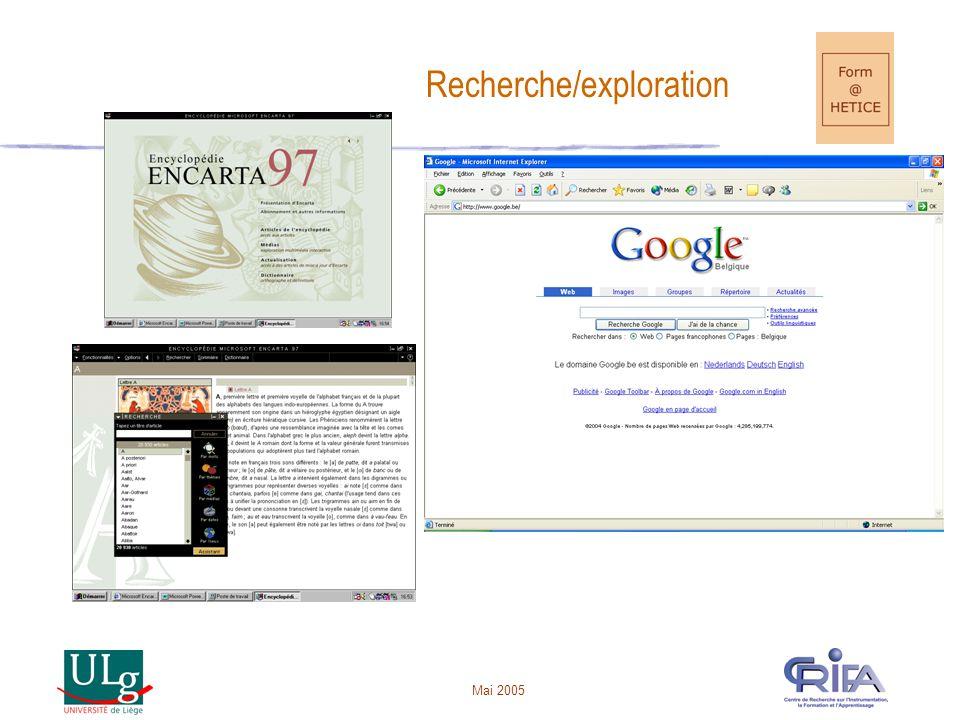 Mai 2005 Recherche/exploration