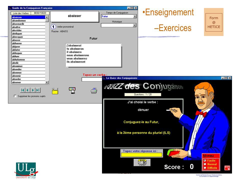 Mai 2005 1.Pratique 2.GUIDAGE 3. Corrigez-moi 4.(Feed-back) 1.Imprégnation 2.MODELISATION 3. Montrez-moi 4.(Modèles) 1.Réception 2.TRANSMISSION 3. Dites-moi 4.(Messages informatifs) Rôles de l'enseignant 1.Expérimentation 2.REACTIVITE 3. Laissez-moi combiner 4.(Instrument de manipulation) 1.Exploration 2.APPROVISIONNEMENT 3. Laissez-moi déambuler 4.(Données consultables) 1.Création 2.CONFORTATION/CONFRONTATION 3. Laissez-moi construire 4.(Eléments de construction)