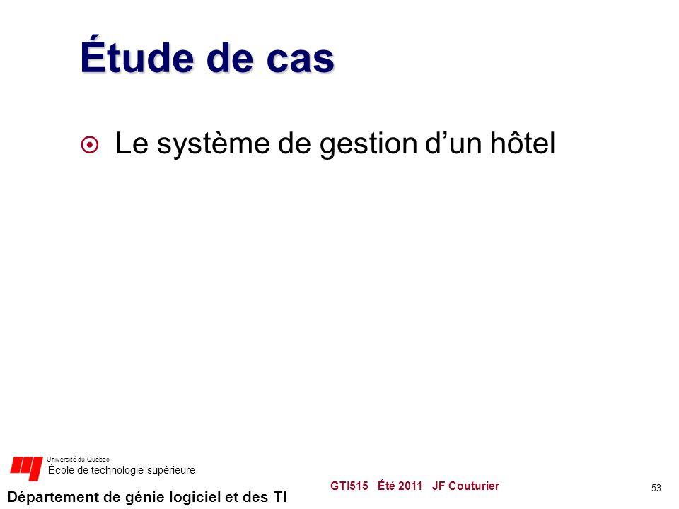 Département de génie logiciel et des TI Université du Québec École de technologie supérieure Étude de cas  Le système de gestion d'un hôtel GTI515 Été 2011 JF Couturier 53