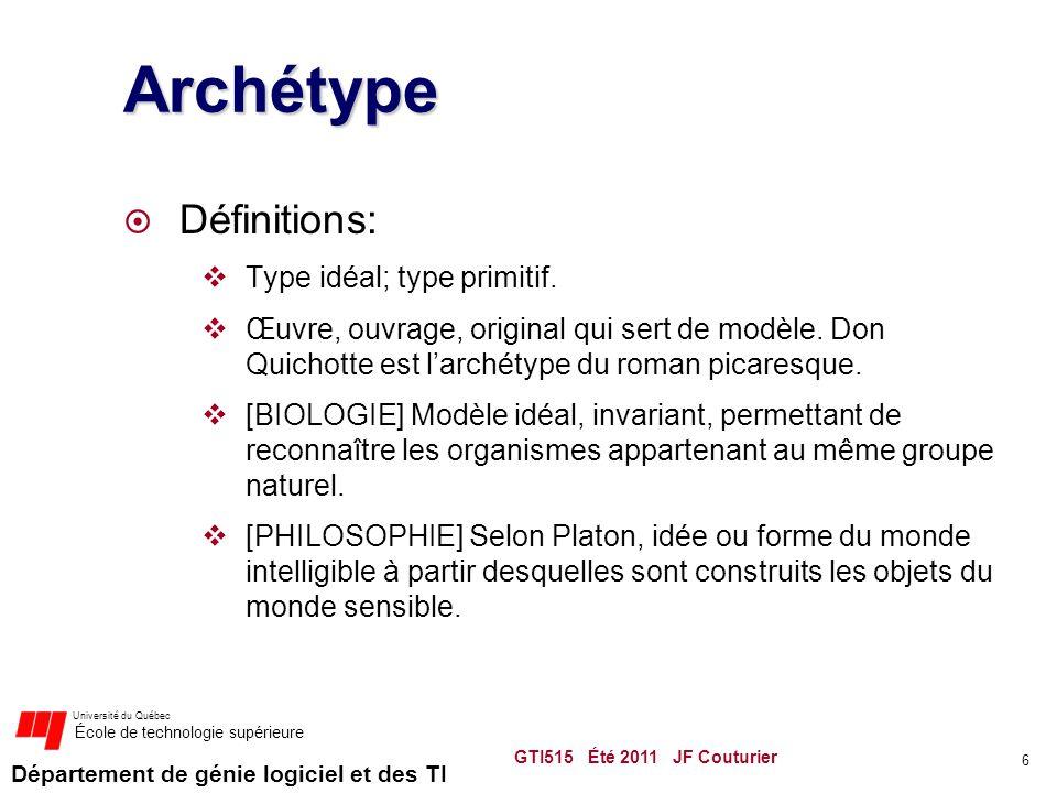 Département de génie logiciel et des TI Université du Québec École de technologie supérieure Archétype  Définitions:  Type idéal; type primitif.