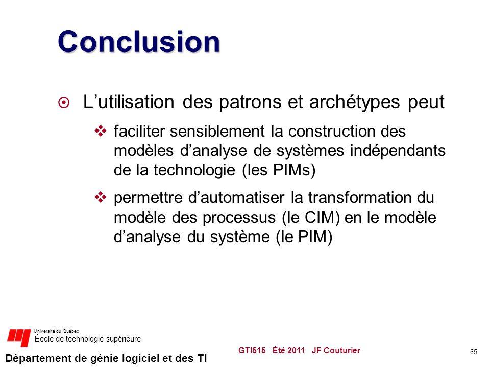 Département de génie logiciel et des TI Université du Québec École de technologie supérieure Conclusion  L'utilisation des patrons et archétypes peut  faciliter sensiblement la construction des modèles d'analyse de systèmes indépendants de la technologie (les PIMs)  permettre d'automatiser la transformation du modèle des processus (le CIM) en le modèle d'analyse du système (le PIM) GTI515 Été 2011 JF Couturier 65