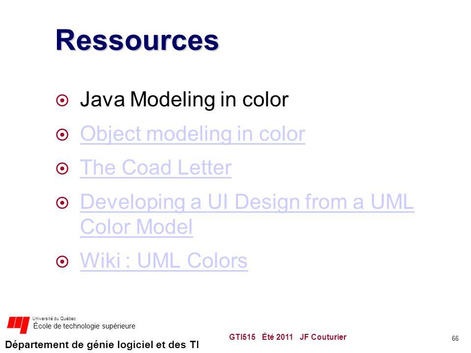 Département de génie logiciel et des TI Université du Québec École de technologie supérieure Ressources  Java Modeling in color  Object modeling in color Object modeling in color  The Coad Letter The Coad Letter  Developing a UI Design from a UML Color Model Developing a UI Design from a UML Color Model  Wiki : UML Colors Wiki : UML Colors GTI515 Été 2011 JF Couturier 66
