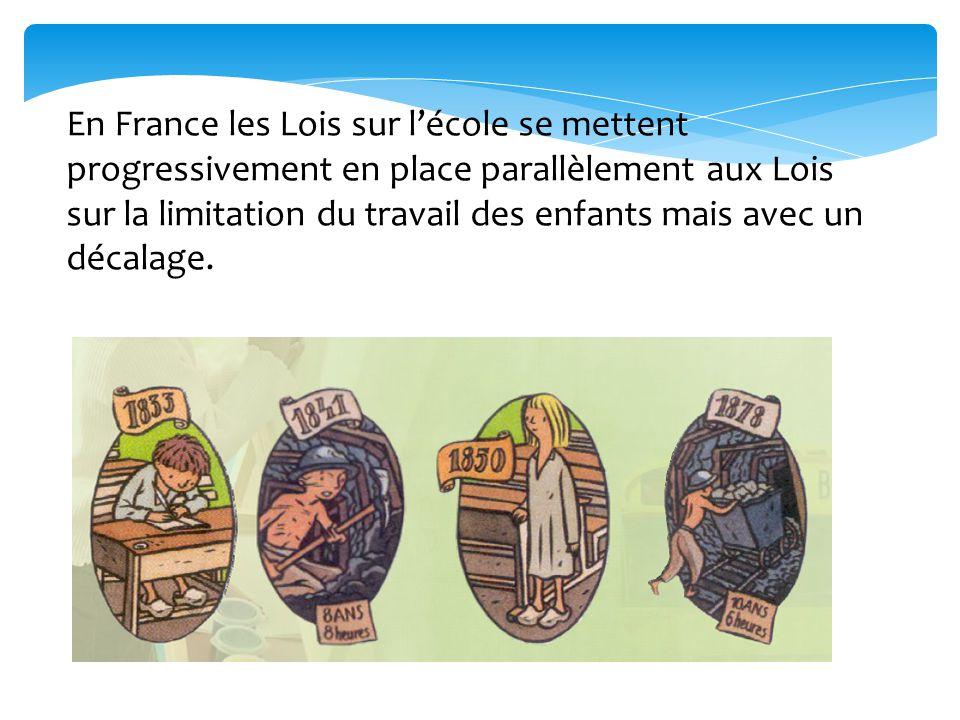 En France les Lois sur l'école se mettent progressivement en place parallèlement aux Lois sur la limitation du travail des enfants mais avec un décala