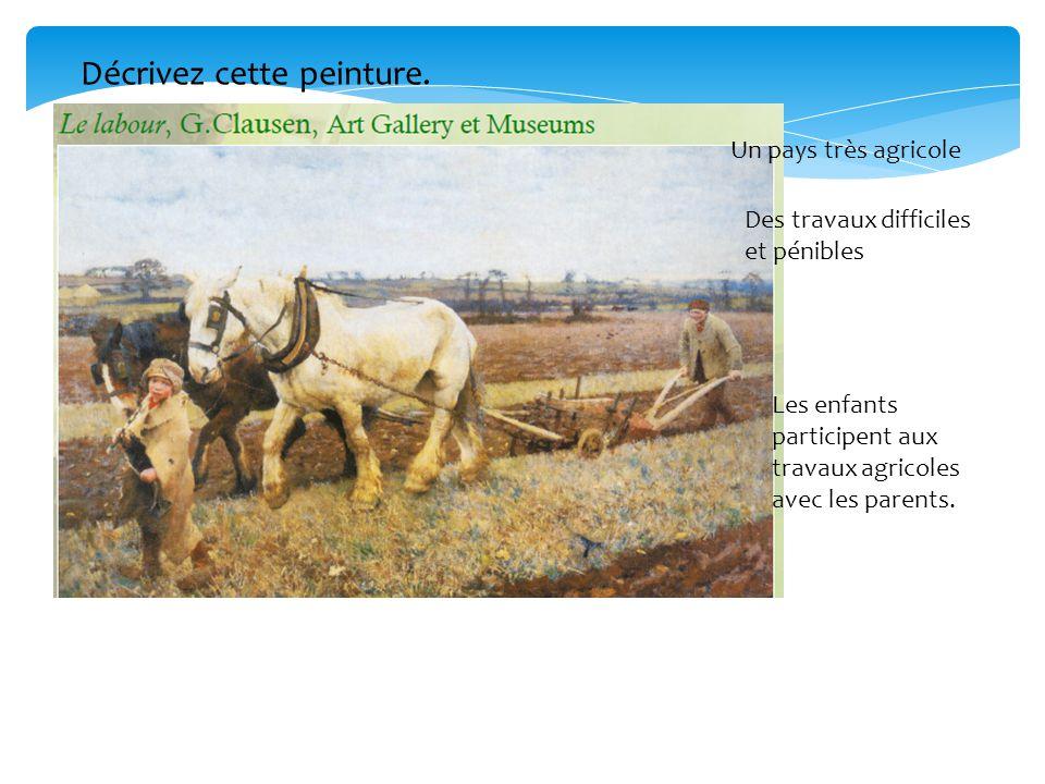 Un pays très agricole Des travaux difficiles et pénibles Les enfants participent aux travaux agricoles avec les parents. Décrivez cette peinture.