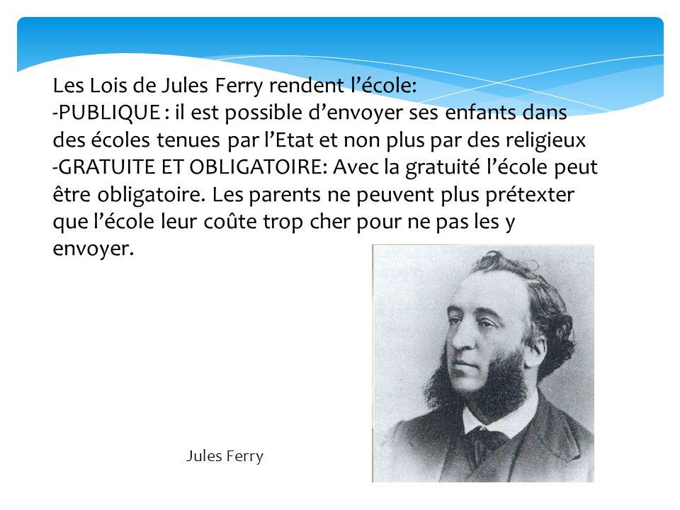 Les Lois de Jules Ferry rendent l'école: -PUBLIQUE : il est possible d'envoyer ses enfants dans des écoles tenues par l'Etat et non plus par des relig