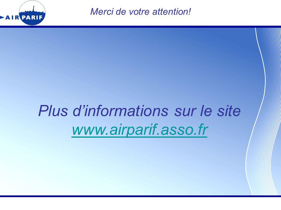 Titre de la présentation Merci de votre attention! Plus d'informations sur le site www.airparif.asso.fr www.airparif.asso.fr