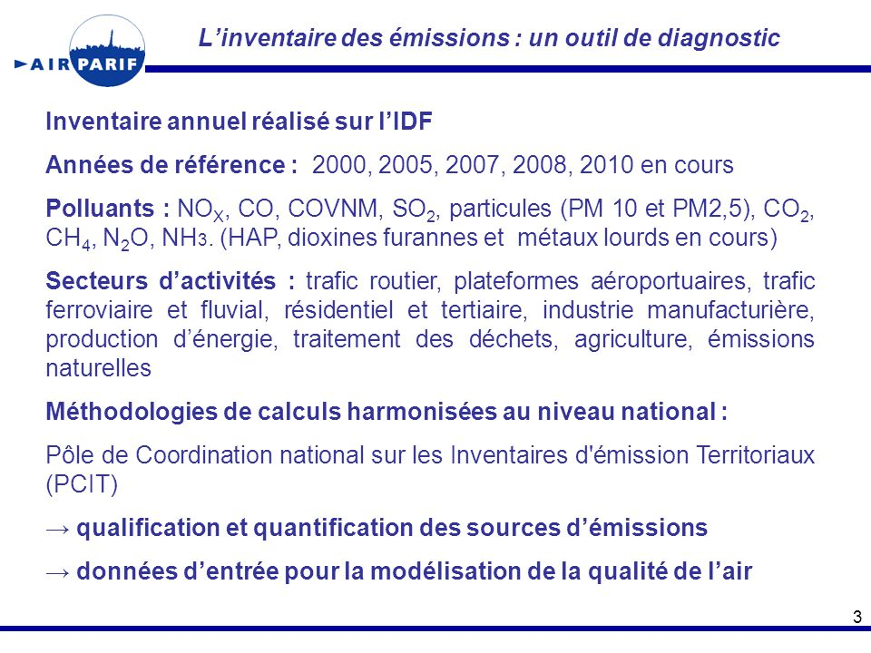 L'inventaire des émissions : un outil de diagnostic 3 Inventaire annuel réalisé sur l'IDF Années de référence : 2000, 2005, 2007, 2008, 2010 en cours