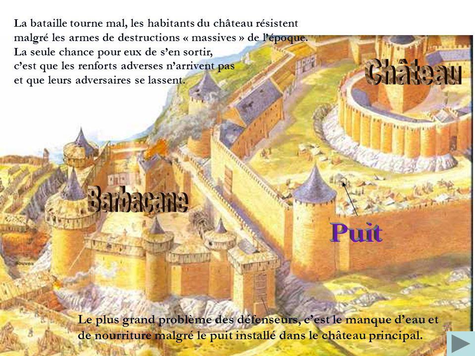 La bataille tourne mal, les habitants du château résistent malgré les armes de destructions « massives » de l'époque.