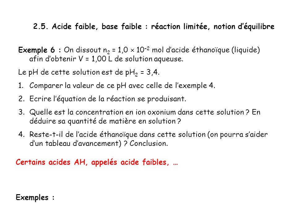 2.5. Acide faible, base faible : réaction limitée, notion d'équilibre Exemple 6 : On dissout n 2 = 1,0  10 –2 mol d'acide éthanoïque (liquide) afin d