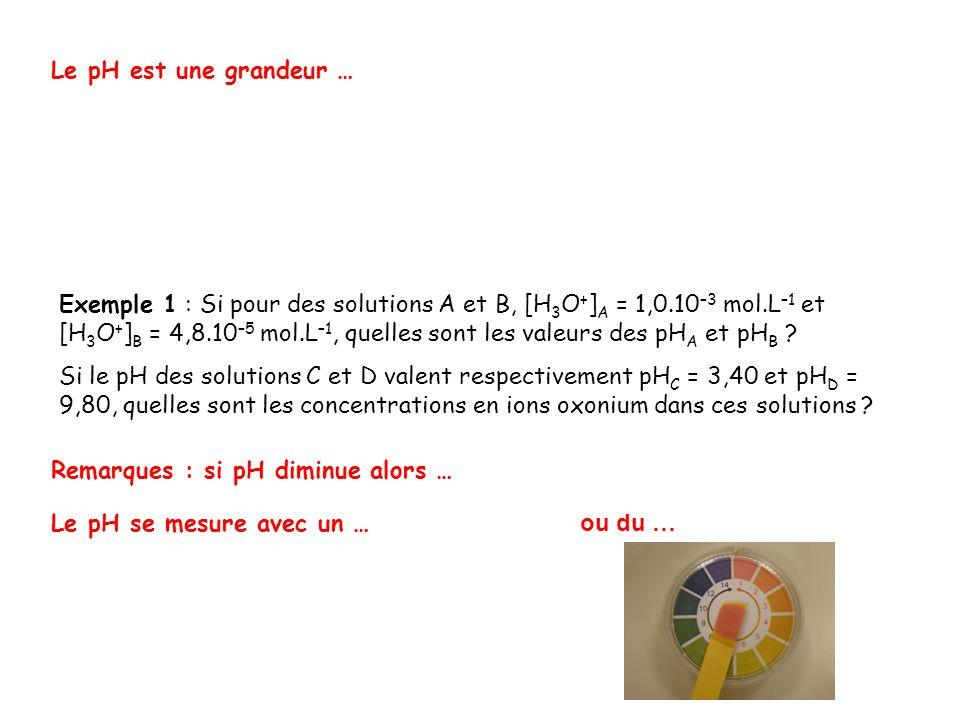 [H 3 O + ] (mol.L –1 ) 10 0 10 -1 10 -2 10 -3 10 -4 10 -5 10 -6 10 -7 10 -8 10 -9 10 -10 10 -11 10 -12 10 -13 10 -14 pH 0 1 2 3 4 5 6 7 8 9 10 11 12 13 14 Pour une solution acide, pH … Pour une solution basique, pH … Pour une solution neutre, pH …