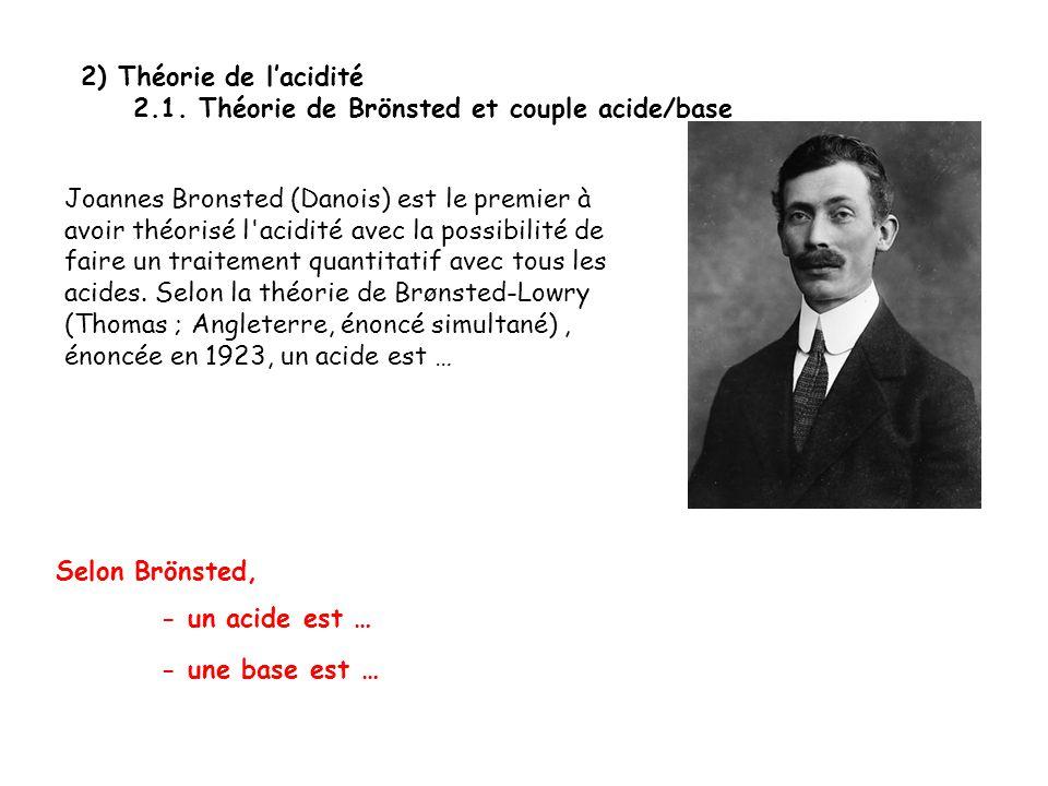 2) Théorie de l'acidité 2.1. Théorie de Brönsted et couple acide/base Joannes Bronsted (Danois) est le premier à avoir théorisé l'acidité avec la poss