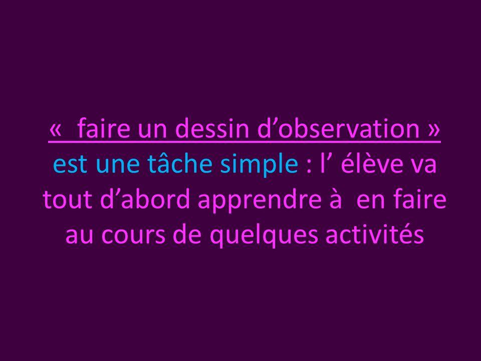 « faire un dessin d'observation » est une tâche simple : l' élève va tout d'abord apprendre à en faire au cours de quelques activités