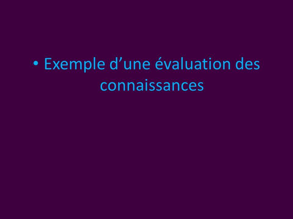 • Exemple d'une évaluation des connaissances