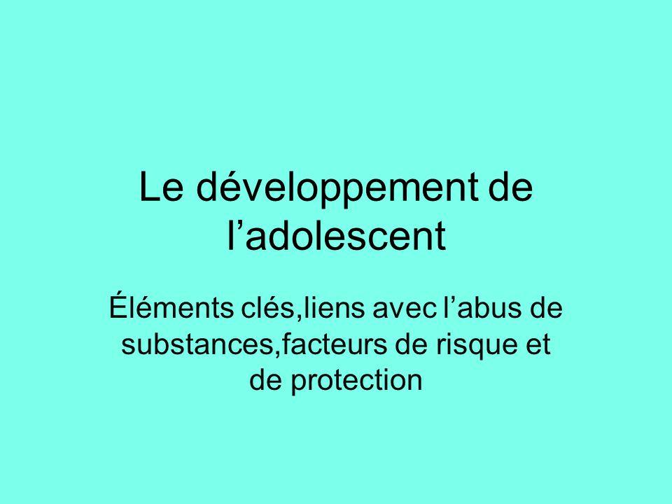 Le développement de l'adolescent Éléments clés,liens avec l'abus de substances,facteurs de risque et de protection 1_ Perspective historique et dimens