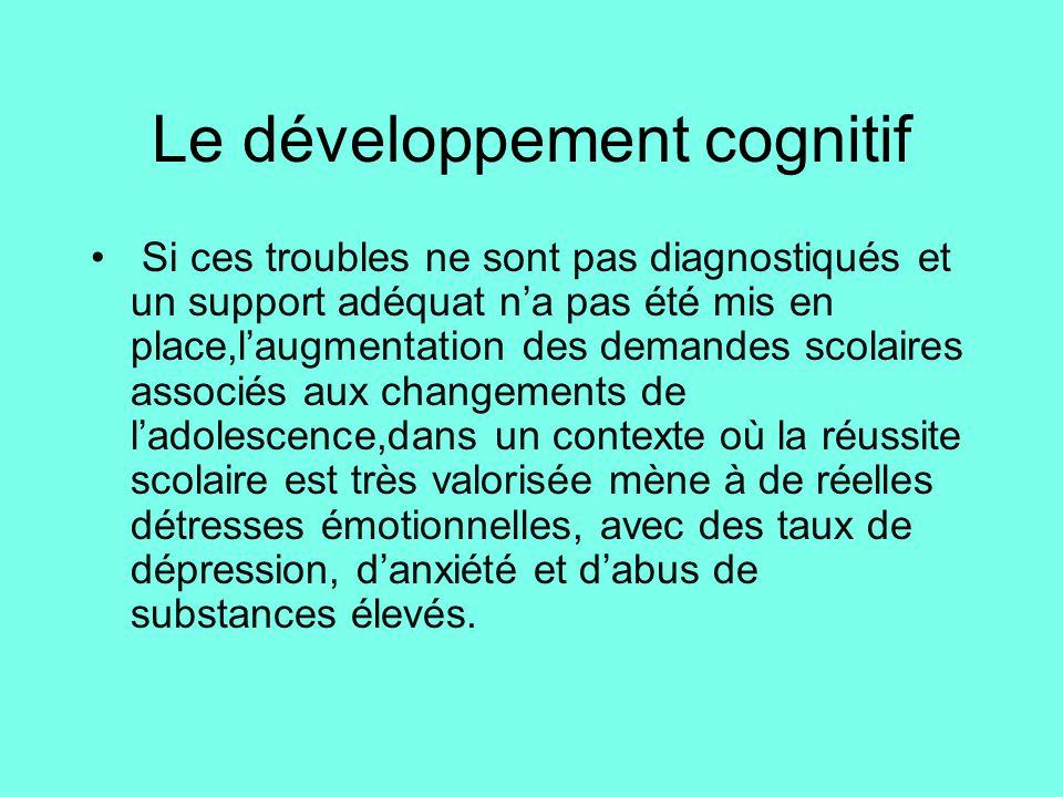 Le développement cognitif • Si ces troubles ne sont pas diagnostiqués et un support adéquat n'a pas été mis en place,l'augmentation des demandes scola
