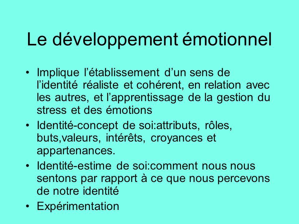 Le développement émotionnel •Implique l'établissement d'un sens de l'identité réaliste et cohérent, en relation avec les autres, et l'apprentissage de