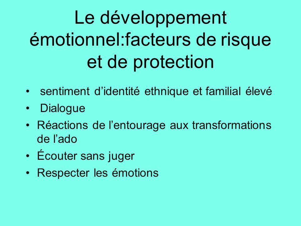 Le développement émotionnel:facteurs de risque et de protection • sentiment d'identité ethnique et familial élevé • Dialogue •Réactions de l'entourage