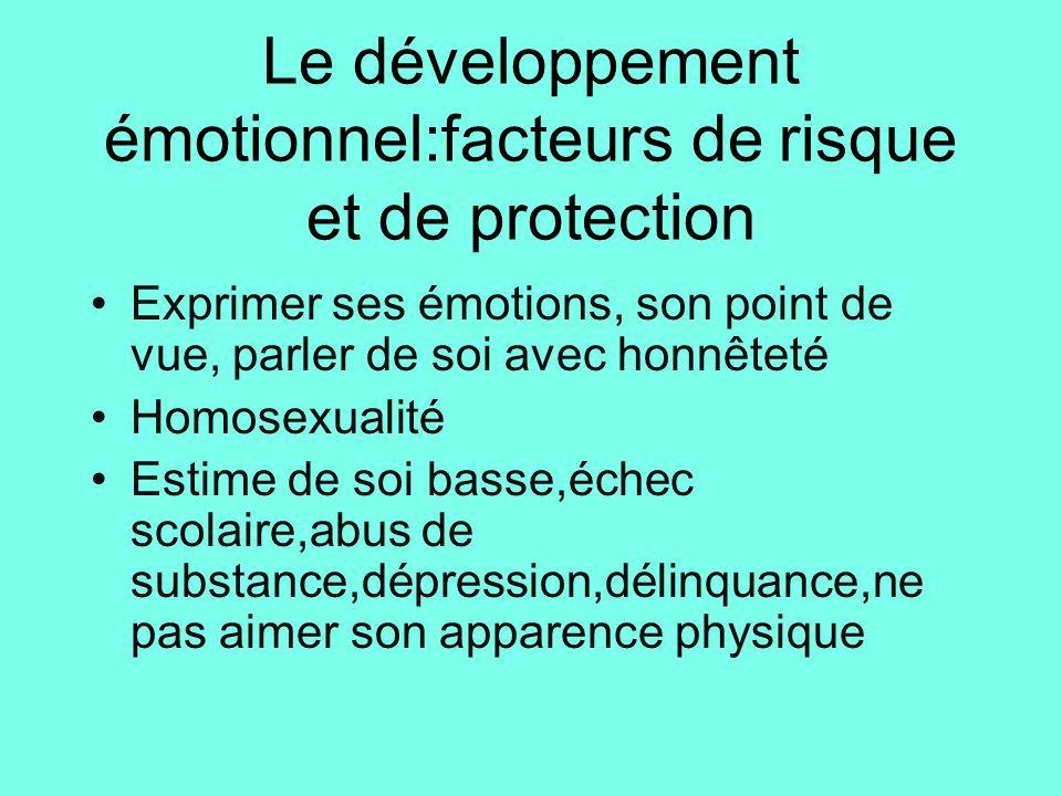 Le développement émotionnel:facteurs de risque et de protection •Exprimer ses émotions, son point de vue, parler de soi avec honnêteté •Homosexualité