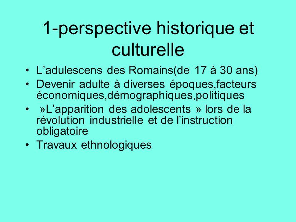 1-perspective historique et culturelle •L'adulescens des Romains(de 17 à 30 ans) •Devenir adulte à diverses époques,facteurs économiques,démographique